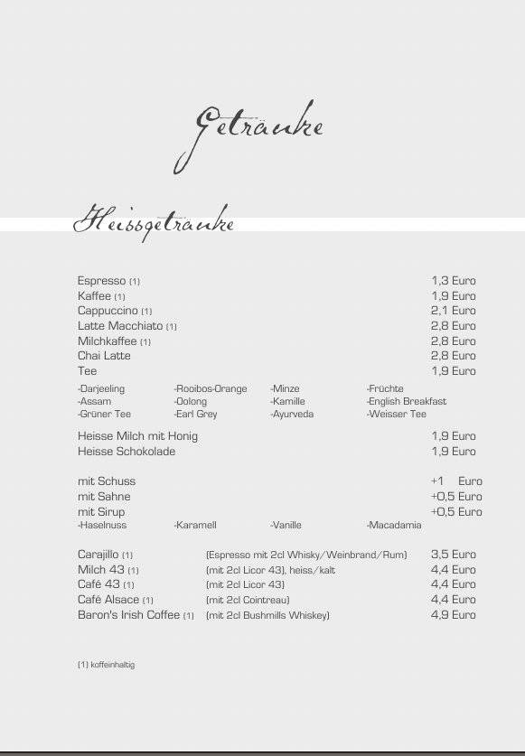 Heiße Getränke - Baron Mainz - 06131-385850